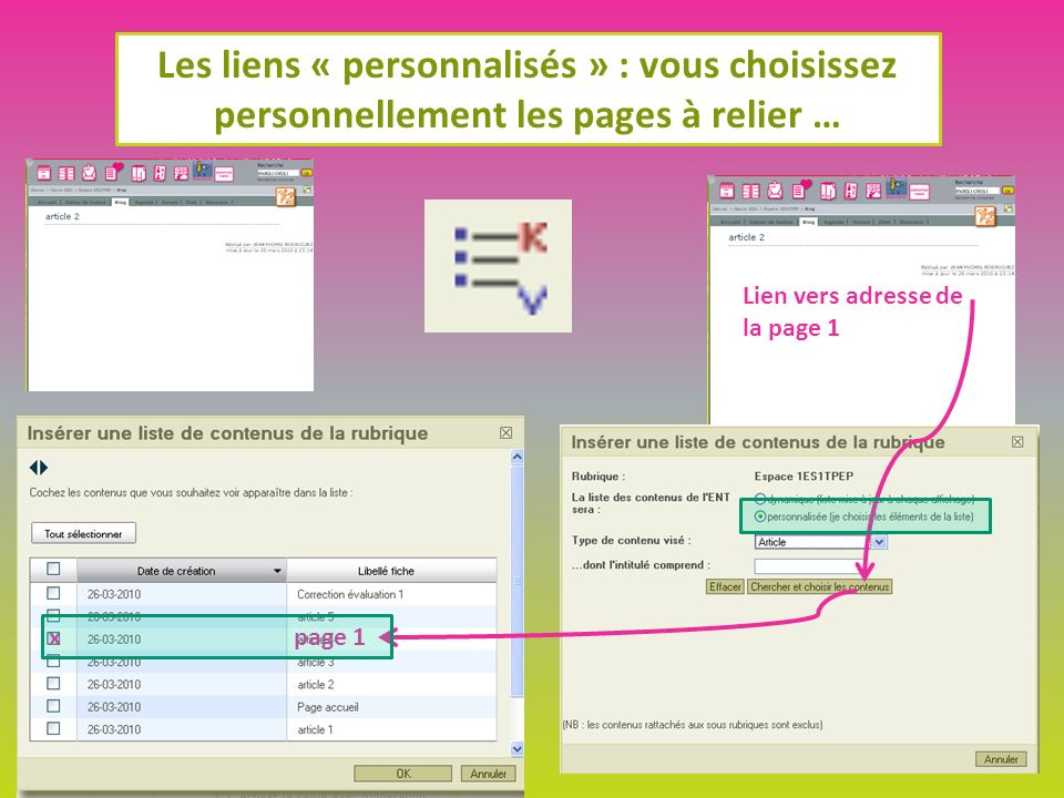 Les liens « personnalisés » : vous choisissez personnellement les pages à relier … Lien vers adresse de la page 1 page 1x