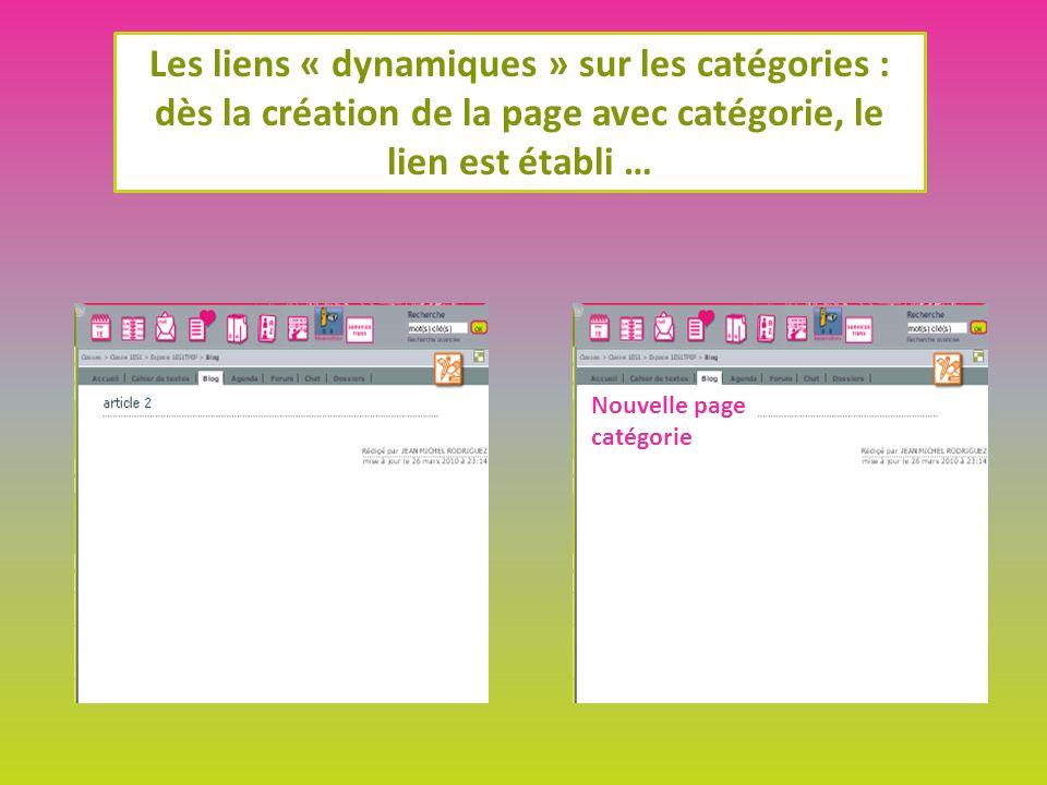 Les liens « dynamiques » sur les catégories : dès la création de la page avec catégorie, le lien est établi … Nouvelle page catégorie