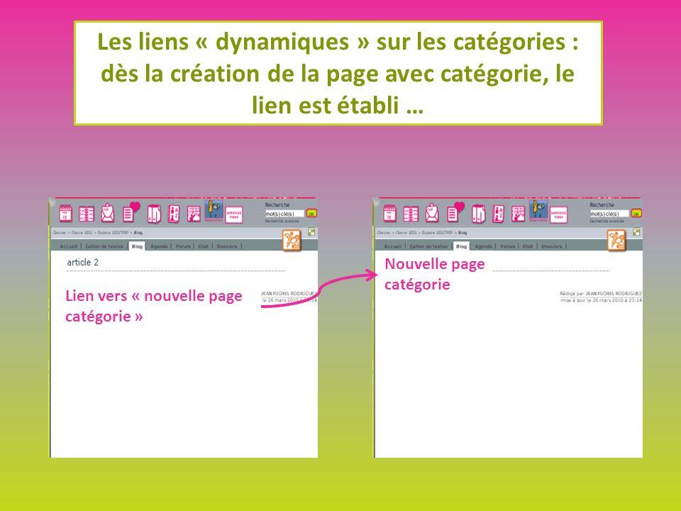 Les liens « dynamiques » sur les catégories : dès la création de la page avec catégorie, le lien est établi … Nouvelle page catégorie Lien vers « nouvelle page catégorie »