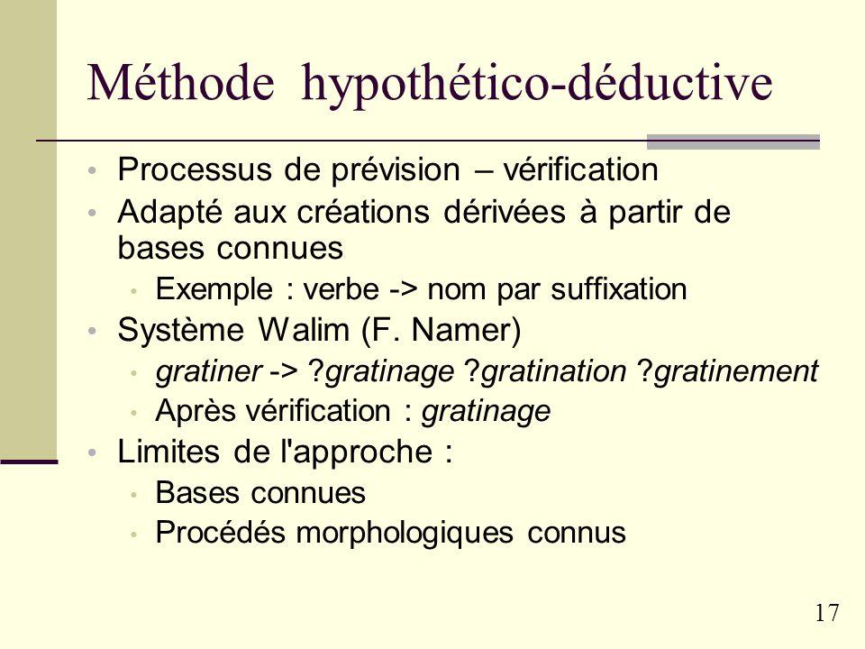 16 Analyse des créations Calcul des différentes bases possibles Programme DeCor (N.