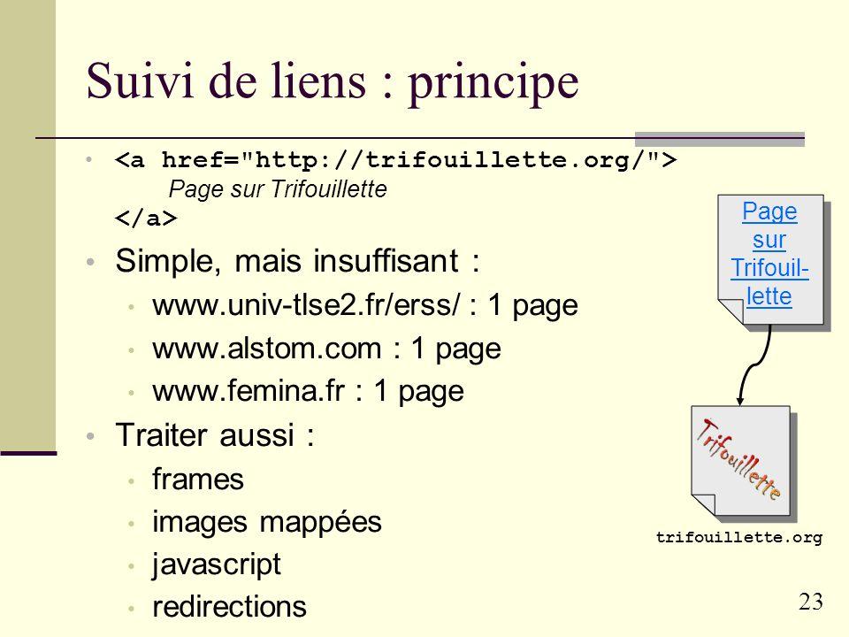 22 Crawl (parcours du web) Noms de domaines : exhaustivité impossible germe + suivi de liens / (arpa) frorgcomca...