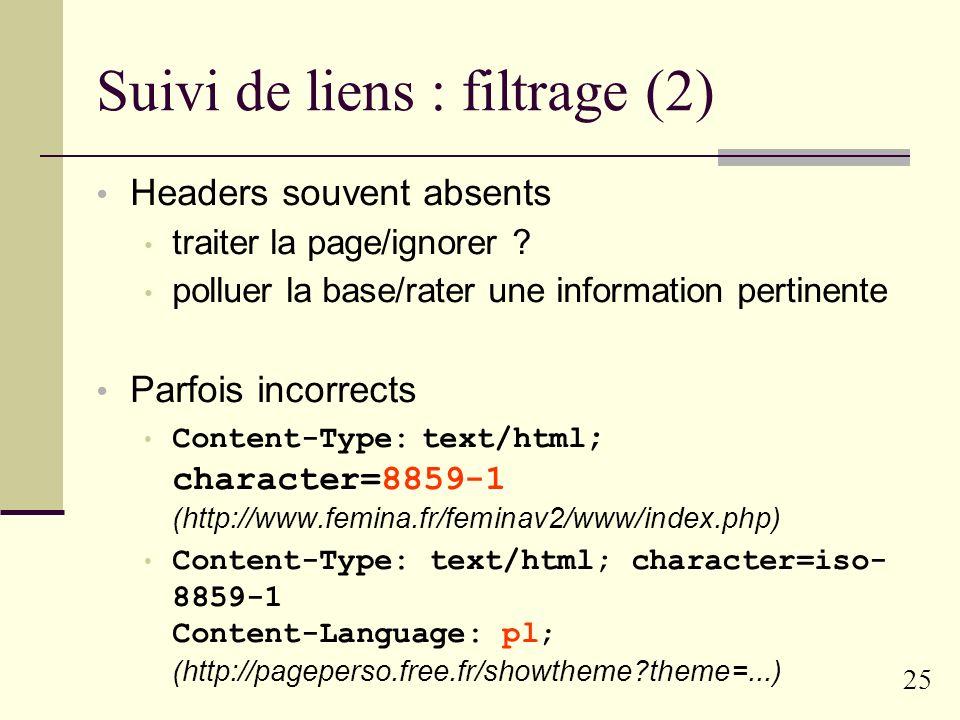 24 Suivi de liens : filtrage sélectionner l information pertinente a priori langue type de contenu (textuel ou autre) base de domaines.uk.mil.gov...