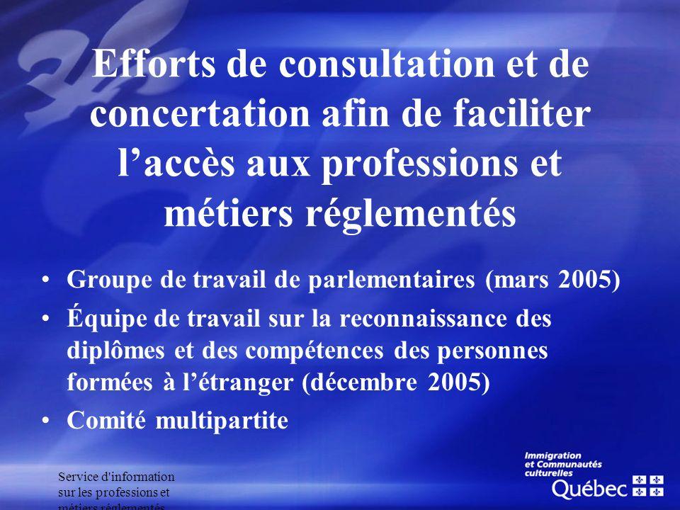 Service d'information sur les professions et métiers réglementés Efforts de consultation et de concertation afin de faciliter laccès aux professions e