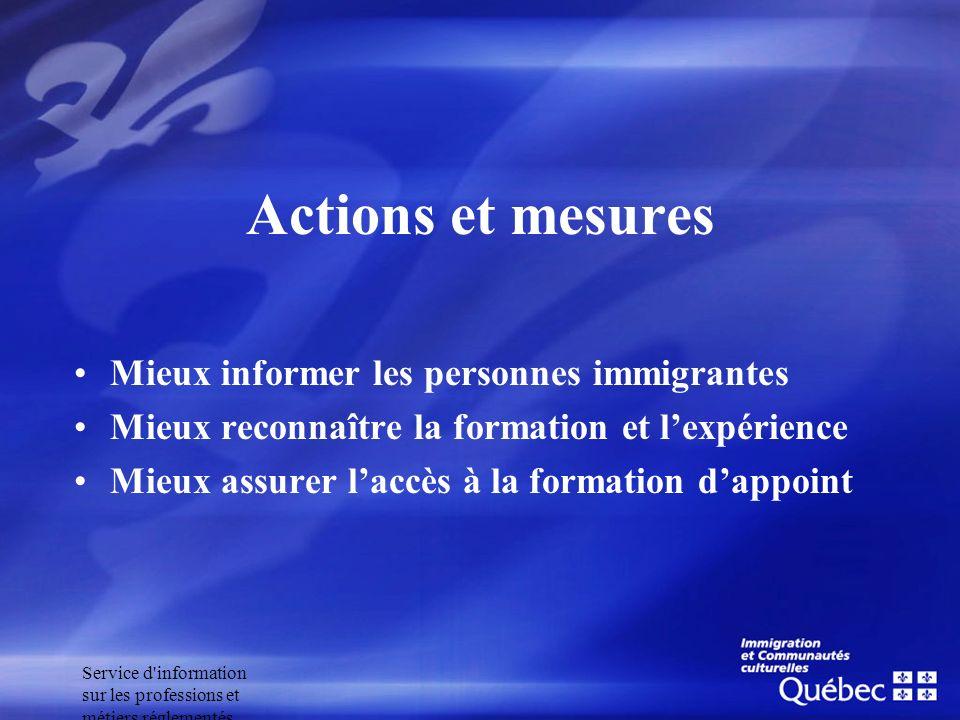 Service d'information sur les professions et métiers réglementés Actions et mesures Mieux informer les personnes immigrantes Mieux reconnaître la form