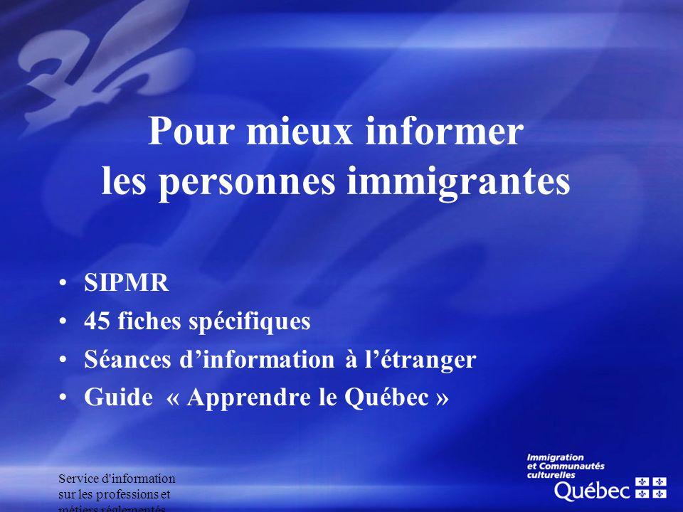 Service d'information sur les professions et métiers réglementés Pour mieux informer les personnes immigrantes SIPMR 45 fiches spécifiques Séances din