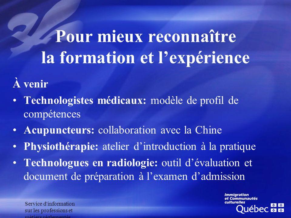 Service d'information sur les professions et métiers réglementés Pour mieux reconnaître la formation et lexpérience À venir Technologistes médicaux: m