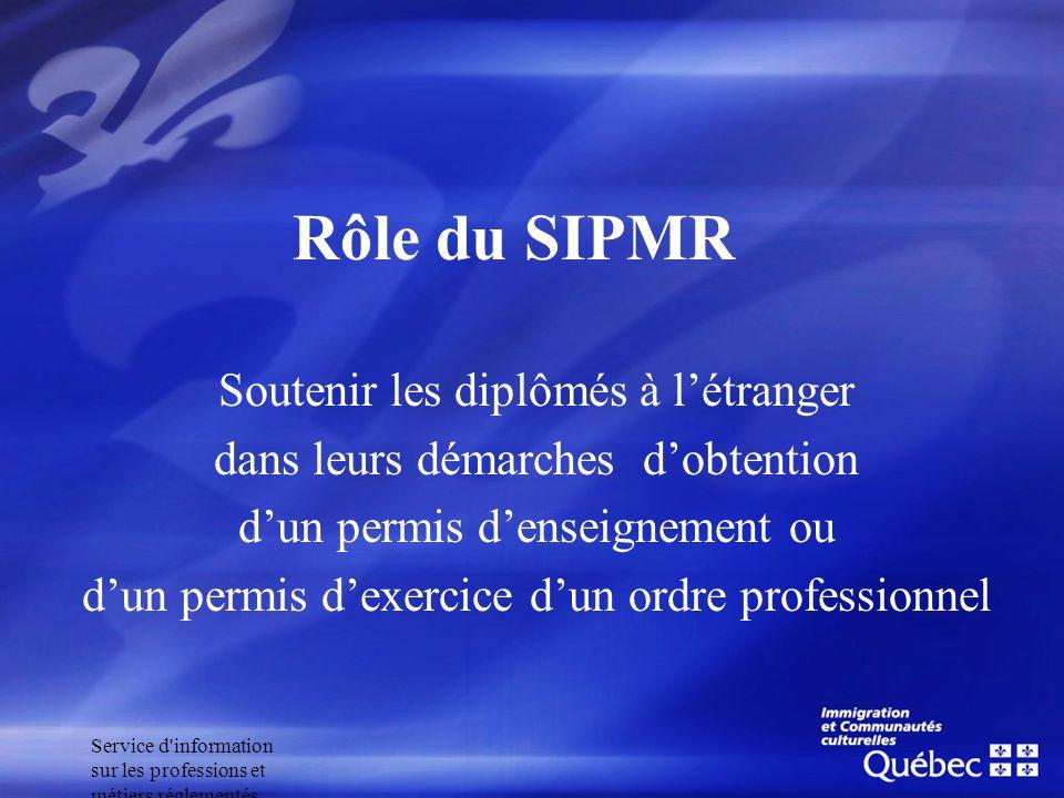 Service d'information sur les professions et métiers réglementés Rôle du SIPMR Soutenir les diplômés à létranger dans leurs démarches dobtention dun p