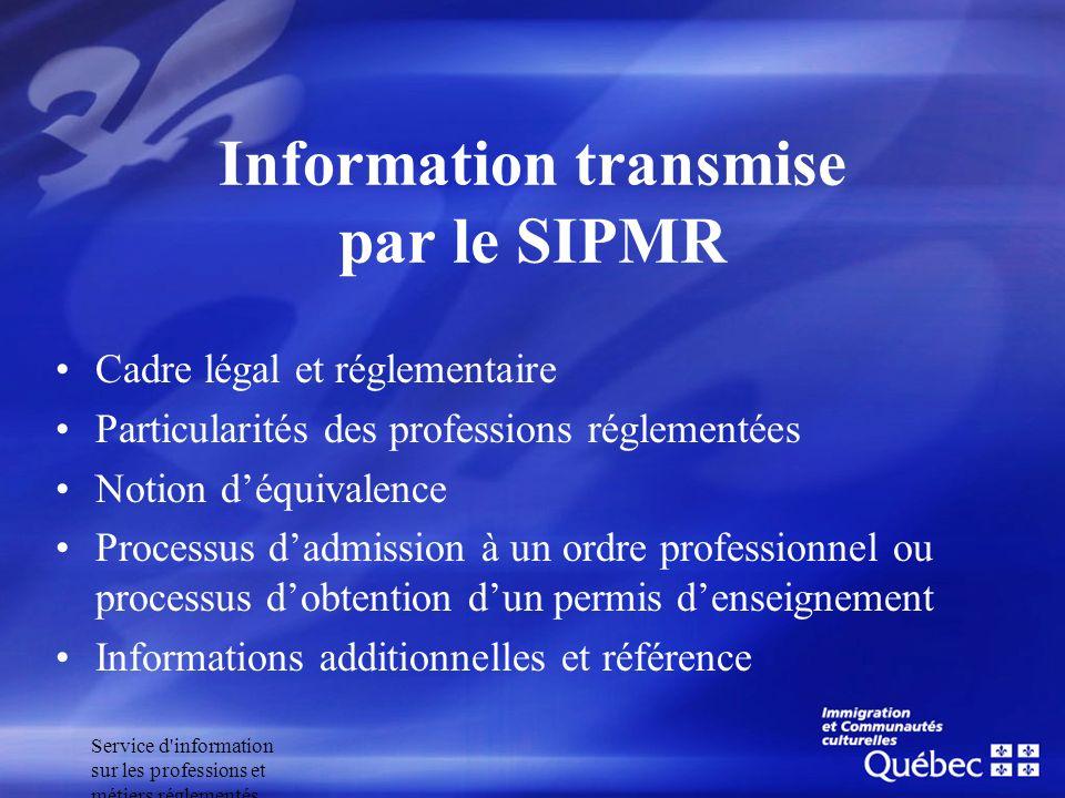 Service d'information sur les professions et métiers réglementés Information transmise par le SIPMR Cadre légal et réglementaire Particularités des pr