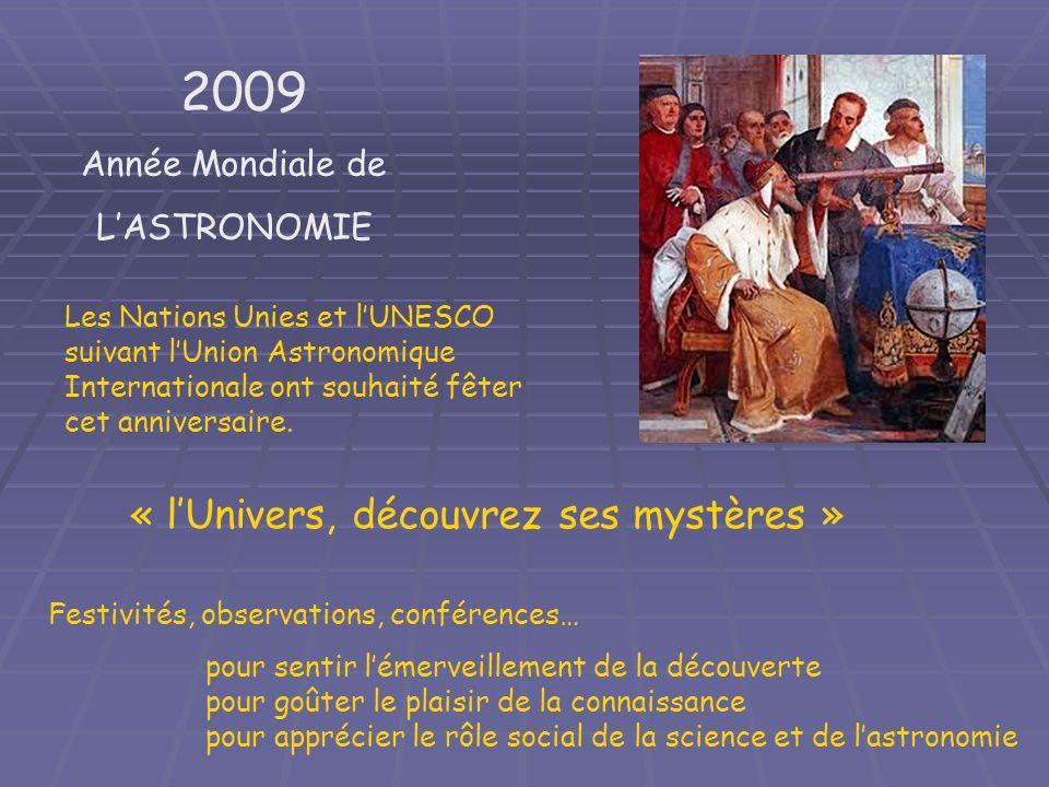 2009 Année Mondiale de LASTRONOMIE Les Nations Unies et lUNESCO suivant lUnion Astronomique Internationale ont souhaité fêter cet anniversaire. Festiv