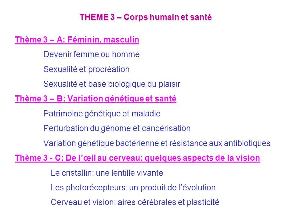 THEME 3 – Corps humain et santé Thème 3 – A: Féminin, masculin Devenir femme ou homme Sexualité et procréation Sexualité et base biologique du plaisir