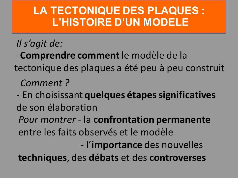 LA TECTONIQUE DES PLAQUES : LHISTOIRE DUN MODELE Il sagit de: - Comprendre comment le modèle de la tectonique des plaques a été peu à peu construit Co