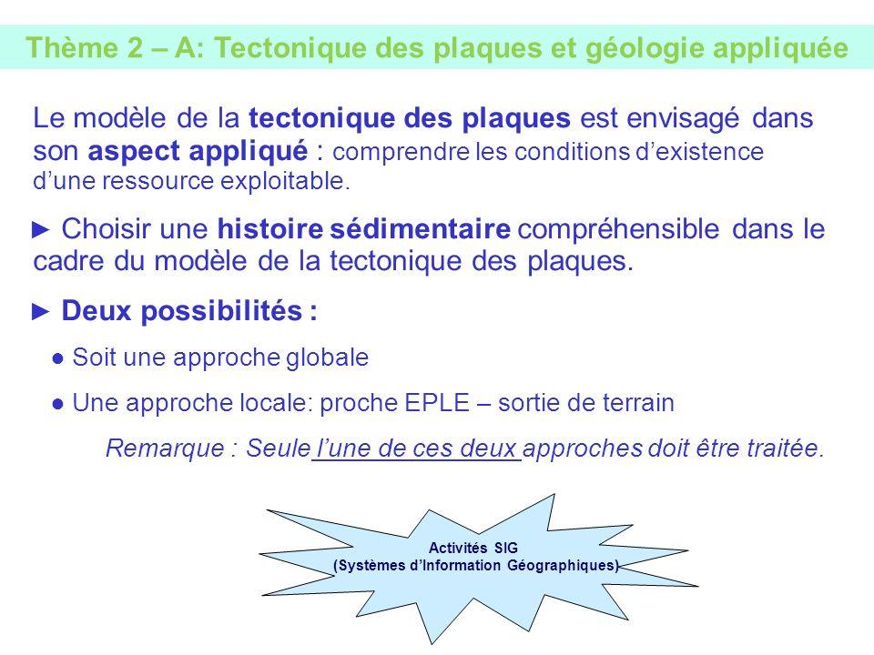 Le modèle de la tectonique des plaques est envisagé dans son aspect appliqué : comprendre les conditions dexistence dune ressource exploitable. Choisi
