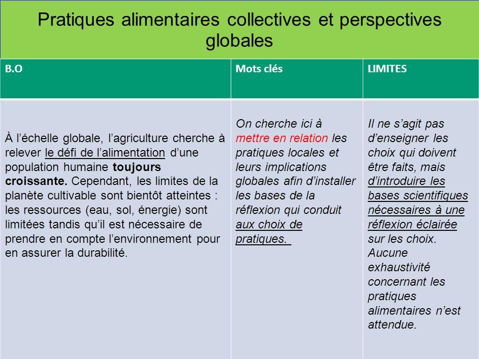 Pratiques alimentaires collectives et perspectives globales B.OMots clésLIMITES À léchelle globale, lagriculture cherche à relever le défi de laliment