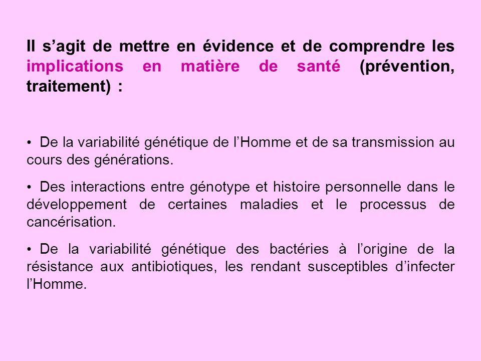 Il sagit de mettre en évidence et de comprendre les implications en matière de santé (prévention, traitement) : De la variabilité génétique de lHomme