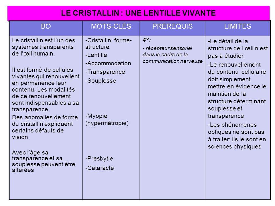 LE CRISTALLIN : UNE LENTILLE VIVANTE BOMOTS-CLÉSPRÉREQUISLIMITES Le cristallin est lun des systèmes transparents de lœil humain. Il est formé de cellu