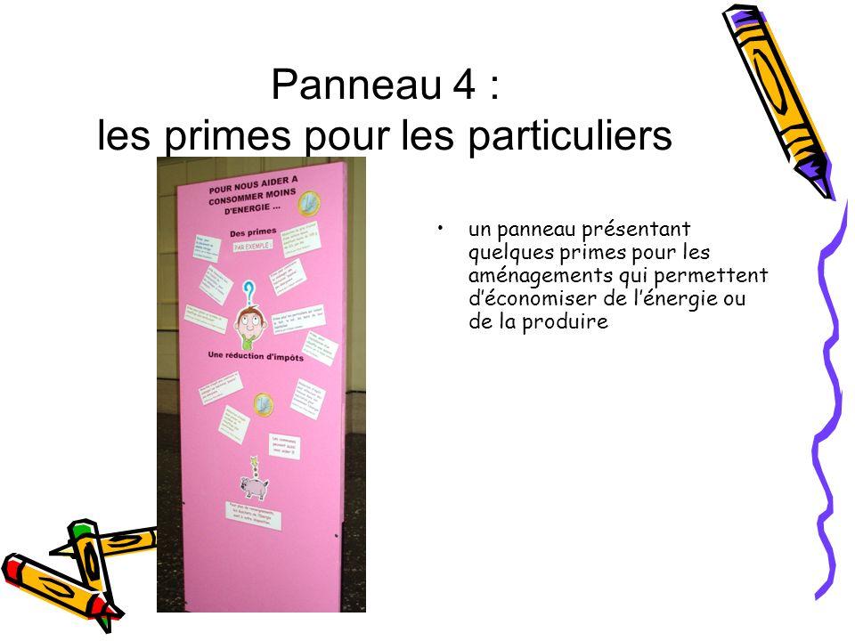 Panneau 4 : les primes pour les particuliers un panneau présentant quelques primes pour les aménagements qui permettent déconomiser de lénergie ou de