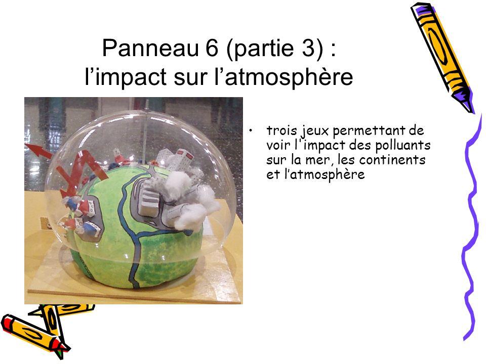 Panneau 6 (partie 3) : limpact sur latmosphère trois jeux permettant de voir l'impact des polluants sur la mer, les continents et latmosphère