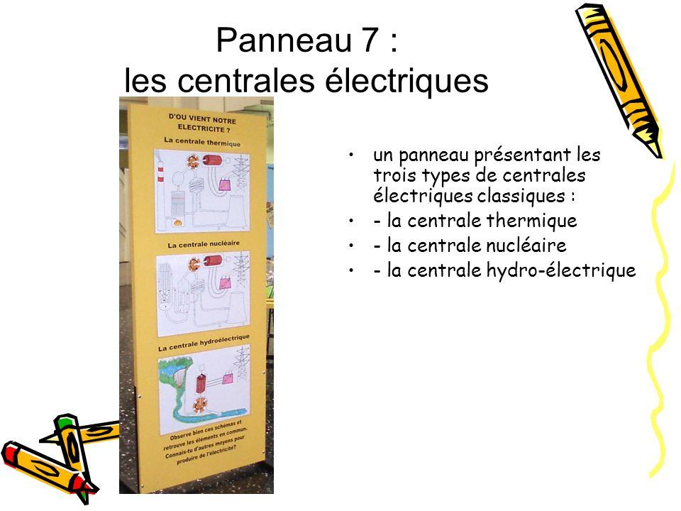 Panneau 7 : les centrales électriques un panneau présentant les trois types de centrales électriques classiques : - la centrale thermique - la central