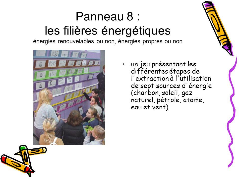 Panneau 8 : les filières énergétiques énergies renouvelables ou non, énergies propres ou non un jeu présentant les différentes étapes de l'extraction