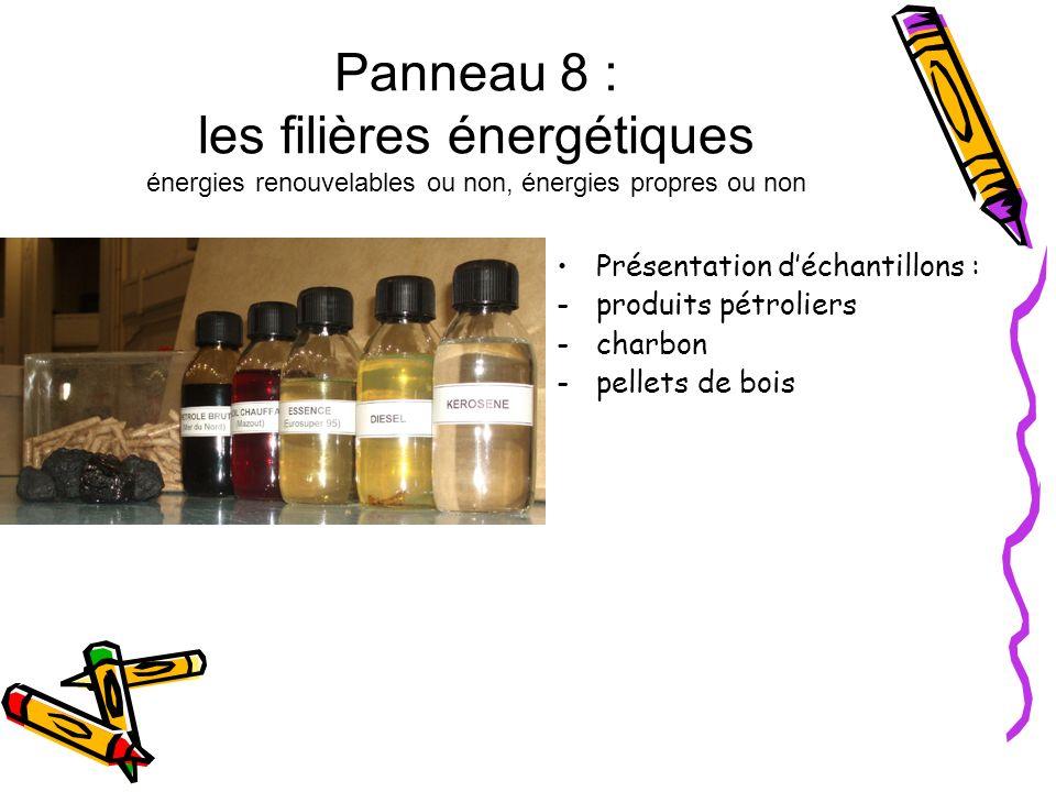 Panneau 8 : les filières énergétiques énergies renouvelables ou non, énergies propres ou non Présentation déchantillons : -produits pétroliers -charbo