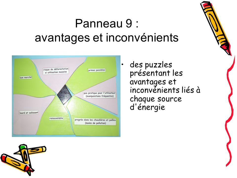 Panneau 9 : avantages et inconvénients des puzzles présentant les avantages et inconvénients liés à chaque source d'énergie