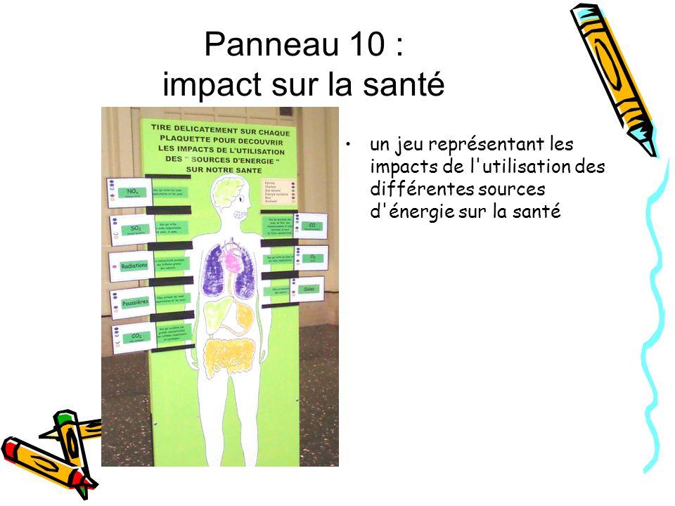 Panneau 10 : impact sur la santé un jeu représentant les impacts de l'utilisation des différentes sources d'énergie sur la santé
