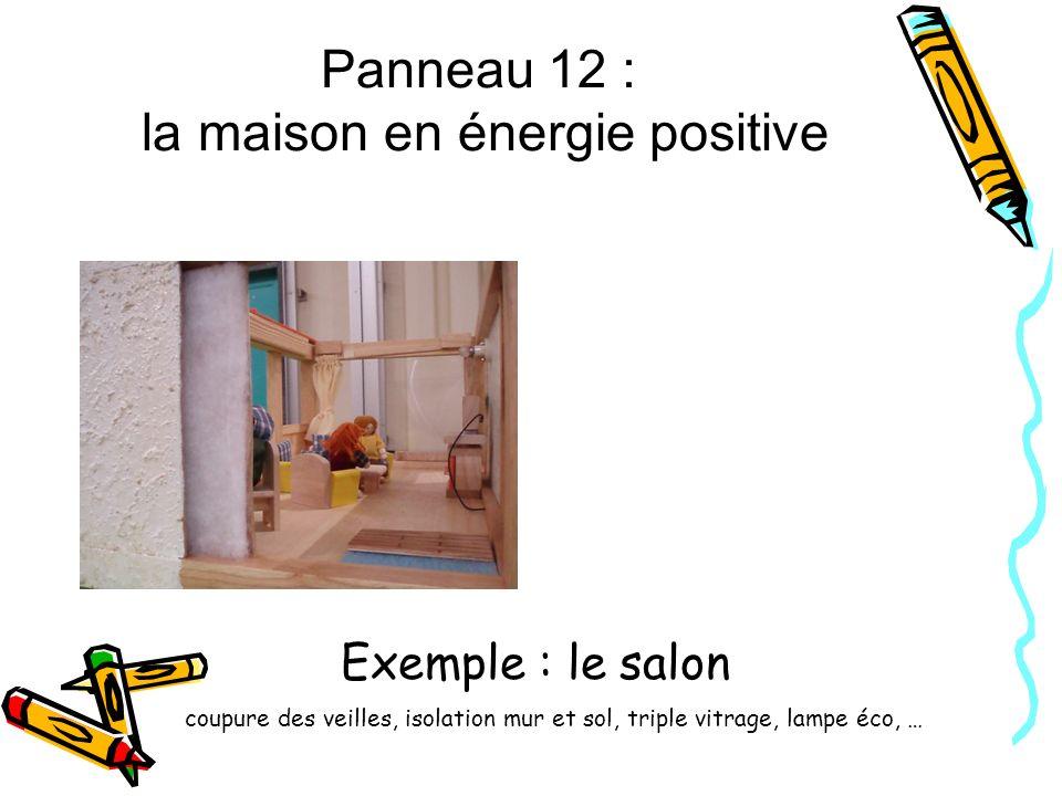 Panneau 12 : la maison en énergie positive Exemple : le salon coupure des veilles, isolation mur et sol, triple vitrage, lampe éco, …