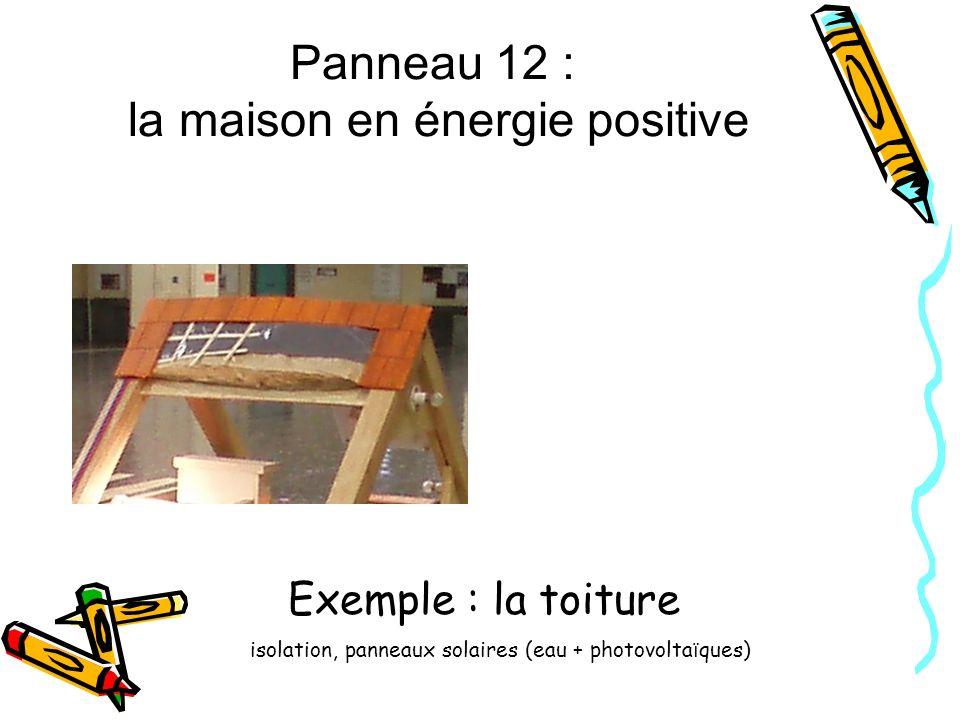 Panneau 12 : la maison en énergie positive Exemple : la toiture isolation, panneaux solaires (eau + photovolta ï ques)