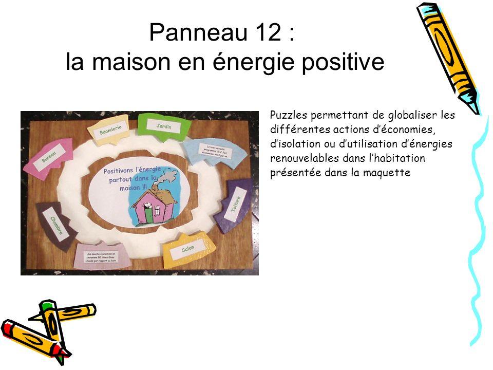Panneau 12 : la maison en énergie positive Puzzles permettant de globaliser les différentes actions déconomies, disolation ou dutilisation dénergies r