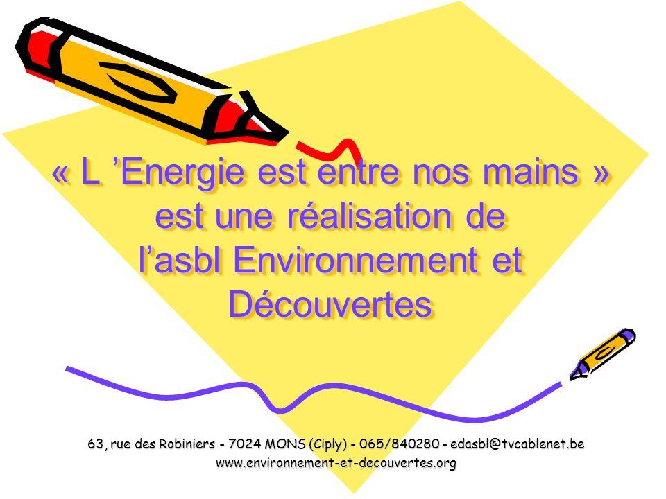 « L Energie est entre nos mains » est une réalisation de lasbl Environnement et Découvertes « L Energie est entre nos mains » est une réalisation de l