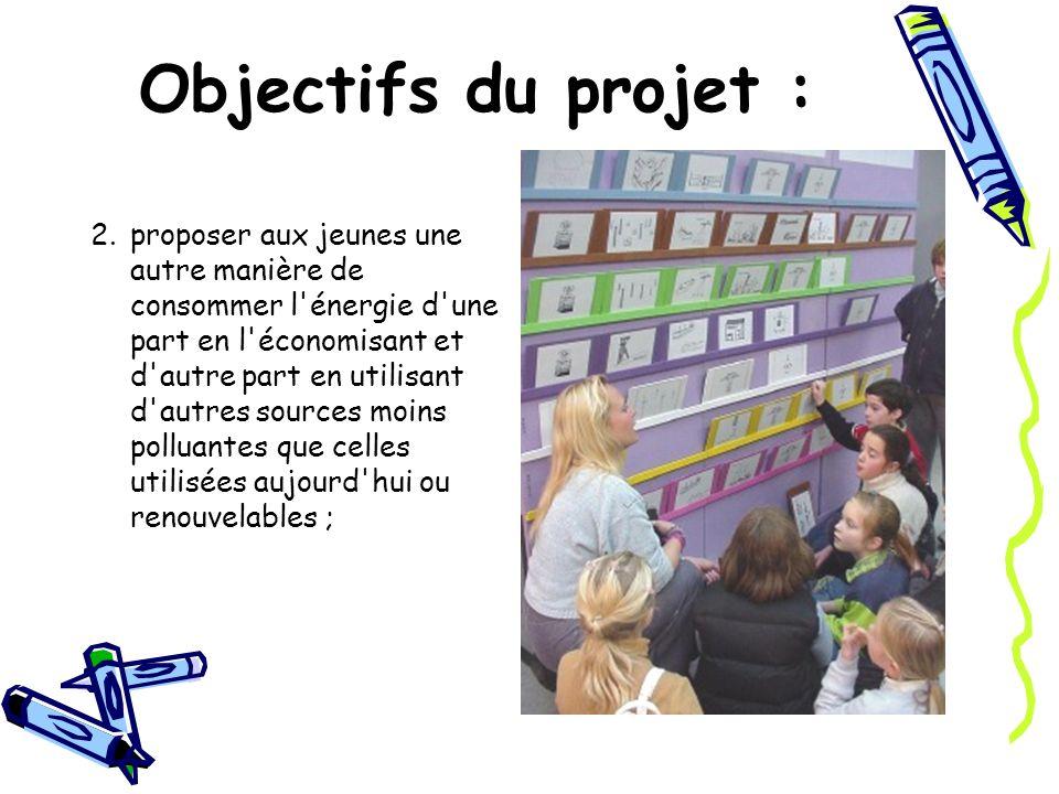 Objectifs du projet : 2.proposer aux jeunes une autre manière de consommer l'énergie d'une part en l'économisant et d'autre part en utilisant d'autres