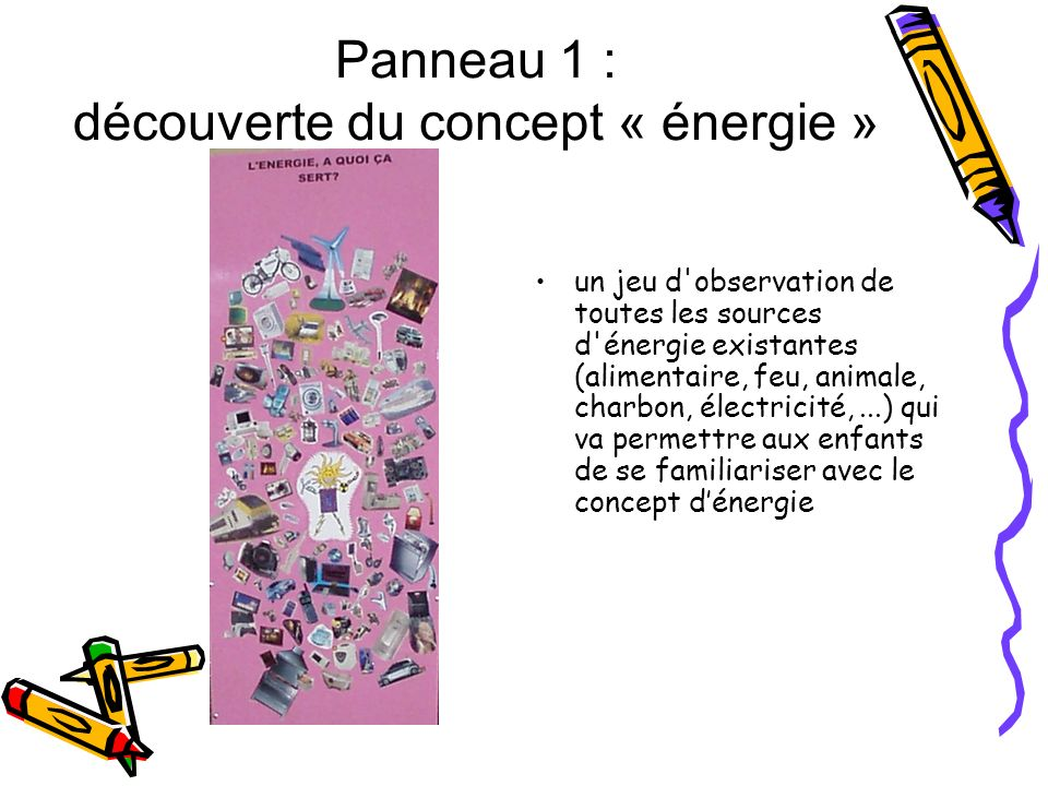 Panneau 1 : découverte du concept « énergie » un jeu d'observation de toutes les sources d'énergie existantes (alimentaire, feu, animale, charbon, éle