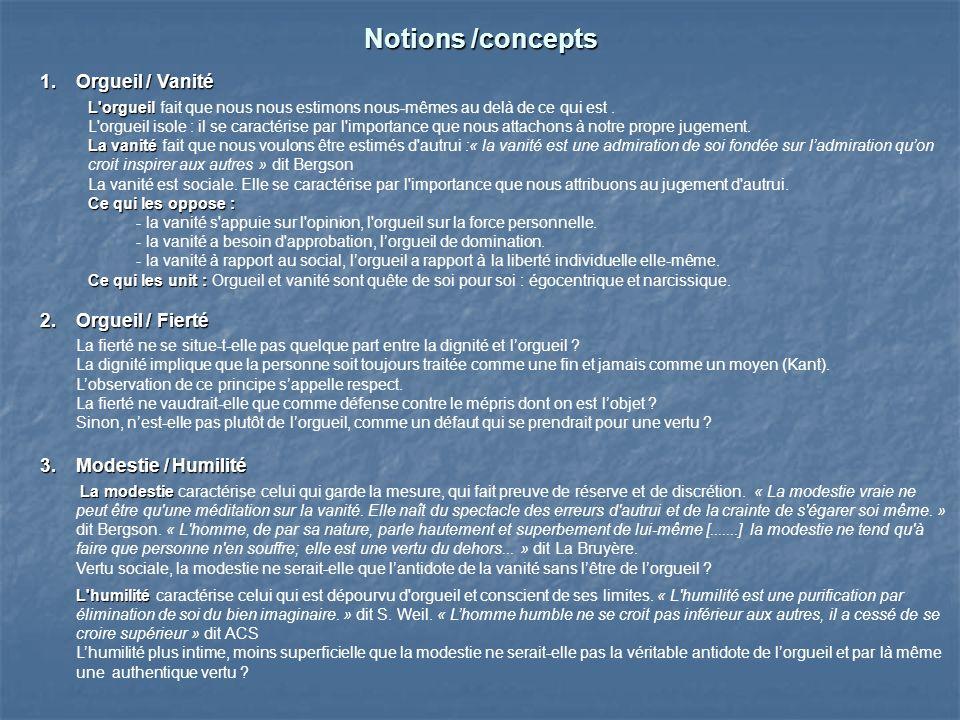 Notions /concepts 1.Orgueil / Vanité 1.Orgueil / Vanité L'orgueil L'orgueil fait que nous nous estimons nous-mêmes au delà de ce qui est. L'orgueil is