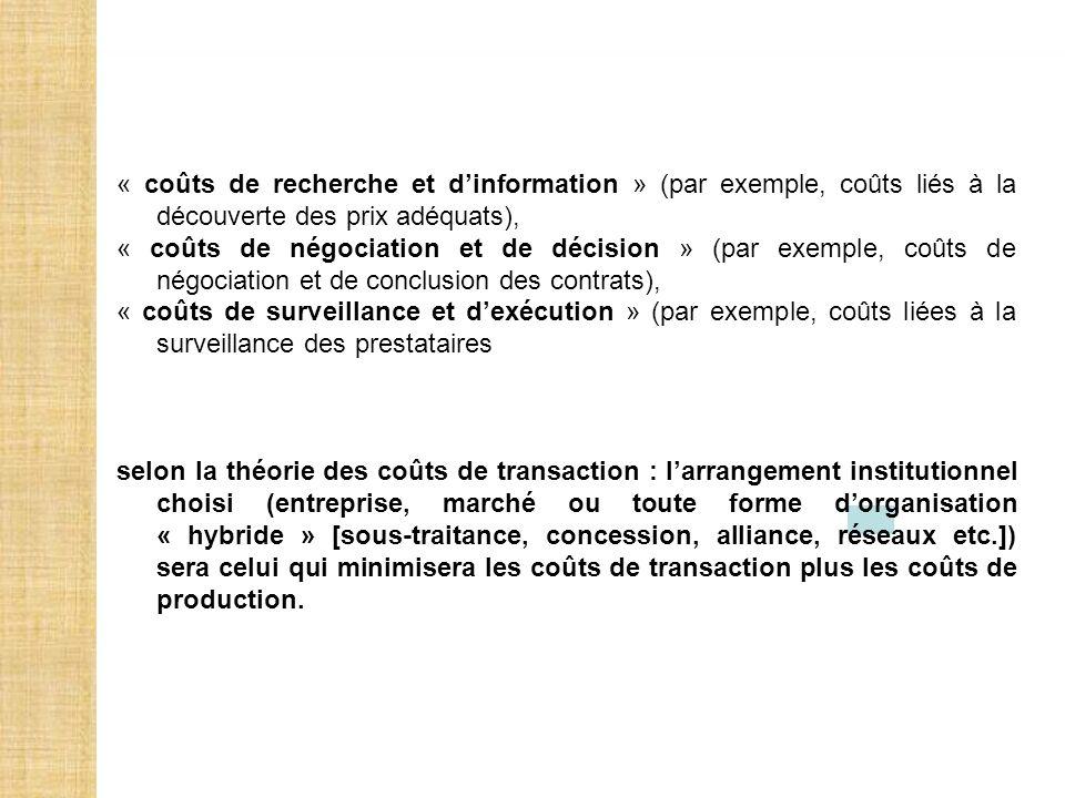 « coûts de recherche et dinformation » (par exemple, coûts liés à la découverte des prix adéquats), « coûts de négociation et de décision » (par exemp