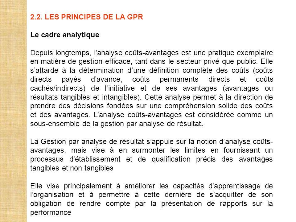 2.2. LES PRINCIPES DE LA GPR Le cadre analytique Depuis longtemps, lanalyse coûts-avantages est une pratique exemplaire en matière de gestion efficace
