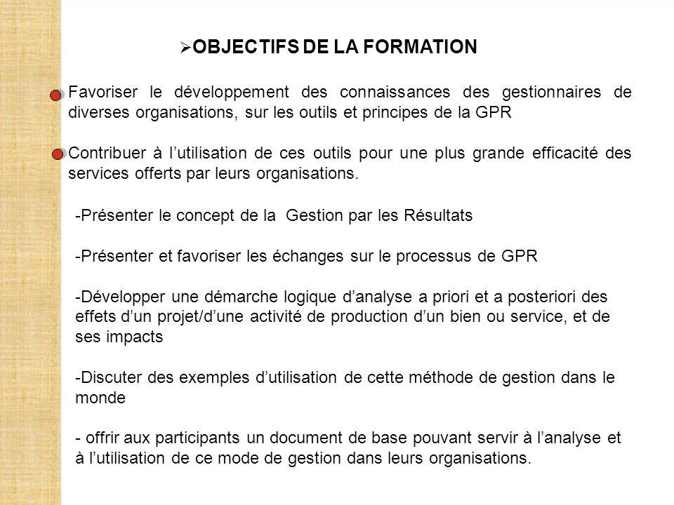 Favoriser le développement des connaissances des gestionnaires de diverses organisations, sur les outils et principes de la GPR Contribuer à lutilisat