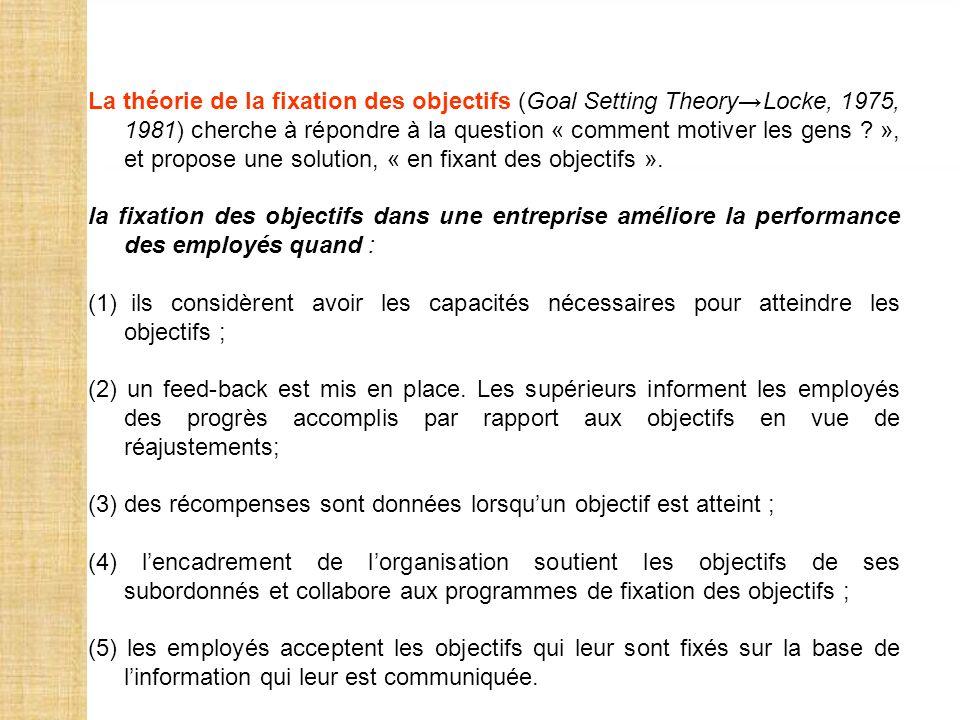 La théorie de la fixation des objectifs (Goal Setting TheoryLocke, 1975, 1981) cherche à répondre à la question « comment motiver les gens ? », et pro