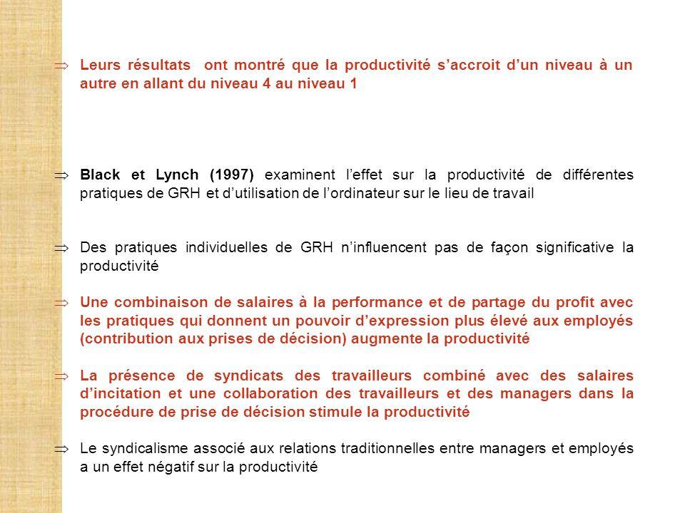 Leurs résultats ont montré que la productivité saccroit dun niveau à un autre en allant du niveau 4 au niveau 1 Black et Lynch (1997) examinent leffet
