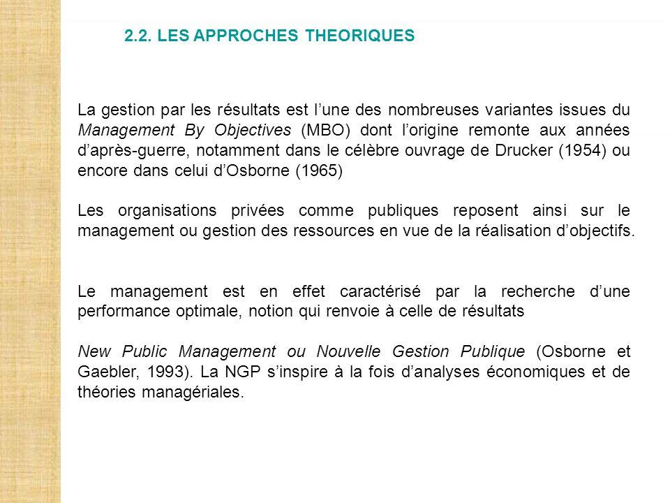 2.2. LES APPROCHES THEORIQUES La gestion par les résultats est lune des nombreuses variantes issues du Management By Objectives (MBO) dont lorigine re