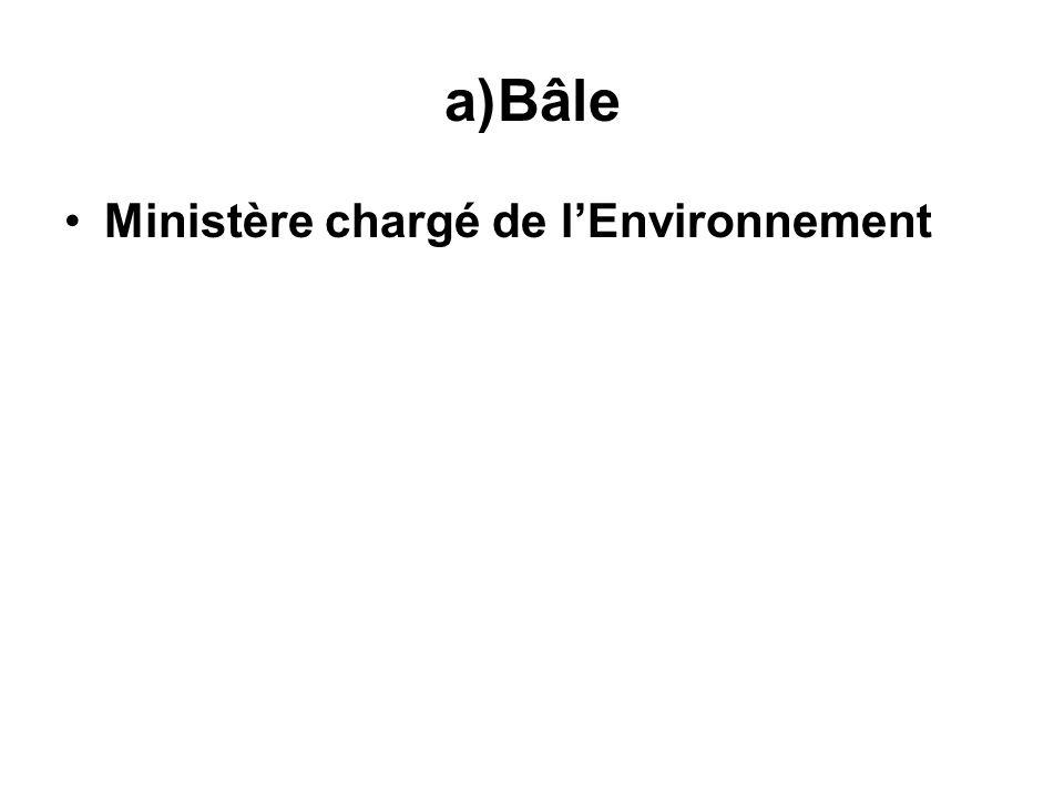 a)Bâle Ministère chargé de lEnvironnement