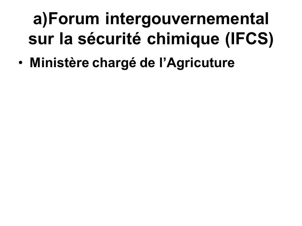 a)Forum intergouvernemental sur la sécurité chimique (IFCS) Ministère chargé de lAgricuture