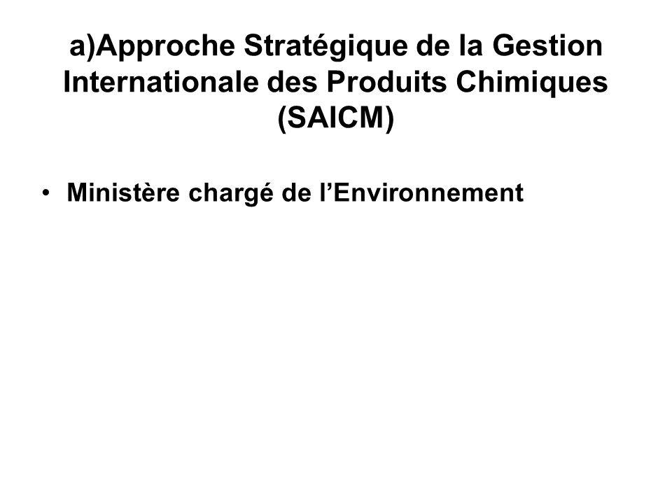 a)Approche Stratégique de la Gestion Internationale des Produits Chimiques (SAICM) Ministère chargé de lEnvironnement