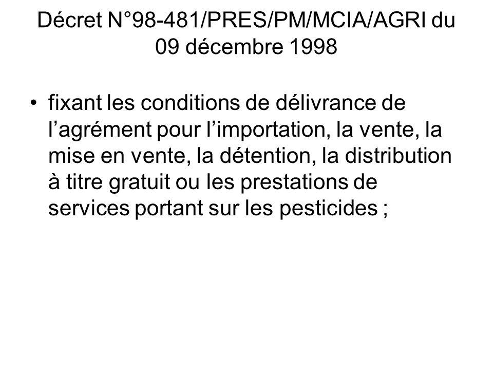 Décret N°98-481/PRES/PM/MCIA/AGRI du 09 décembre 1998 fixant les conditions de délivrance de lagrément pour limportation, la vente, la mise en vente,
