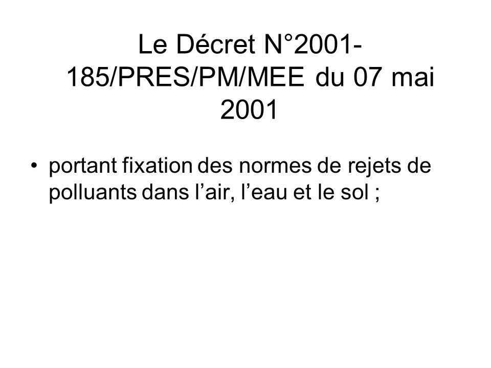 Le Décret N°2001- 185/PRES/PM/MEE du 07 mai 2001 portant fixation des normes de rejets de polluants dans lair, leau et le sol ;