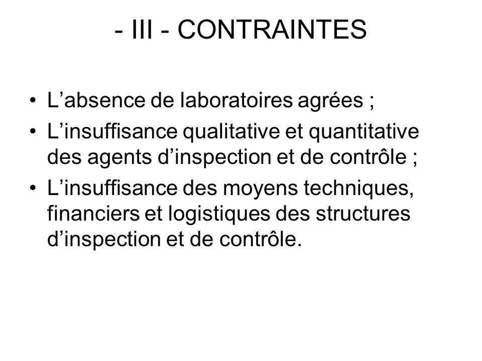 - III - CONTRAINTES Labsence de laboratoires agrées ; Linsuffisance qualitative et quantitative des agents dinspection et de contrôle ; Linsuffisance
