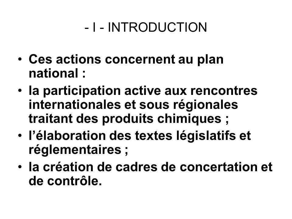 - I - INTRODUCTION Ces actions concernent au plan national : la participation active aux rencontres internationales et sous régionales traitant des pr