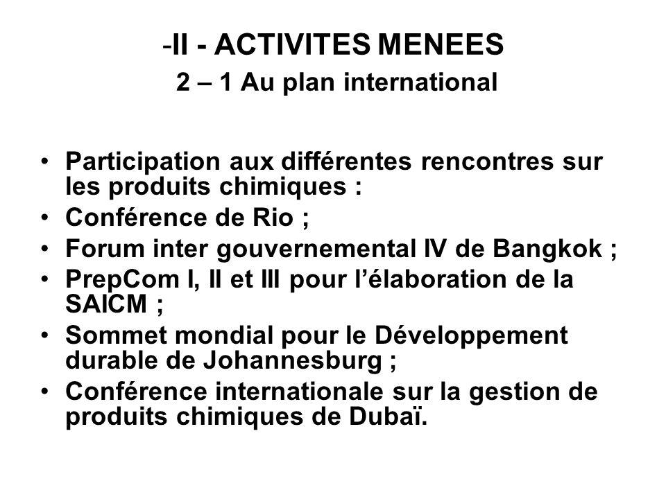-II - ACTIVITES MENEES 2 – 1 Au plan international Participation aux différentes rencontres sur les produits chimiques : Conférence de Rio ; Forum int