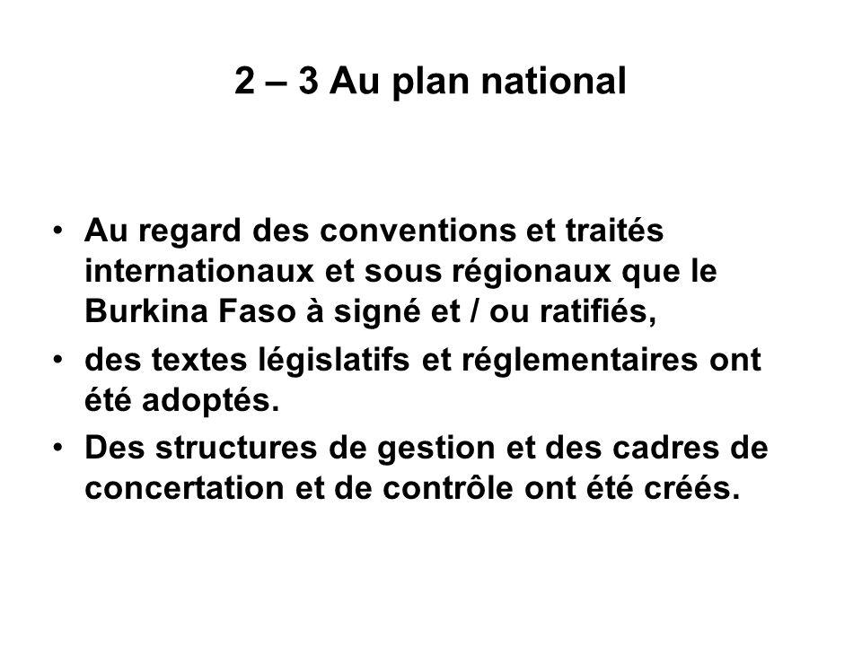 2 – 3 Au plan national Au regard des conventions et traités internationaux et sous régionaux que le Burkina Faso à signé et / ou ratifiés, des textes