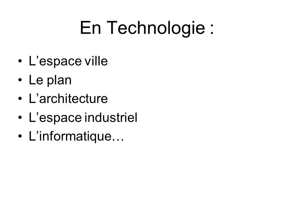 En Technologie : Lespace ville Le plan Larchitecture Lespace industriel Linformatique…
