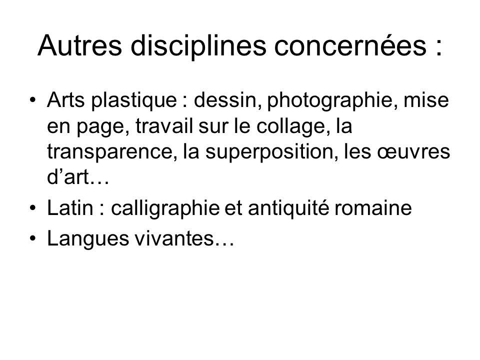 Autres disciplines concernées : Arts plastique : dessin, photographie, mise en page, travail sur le collage, la transparence, la superposition, les œu